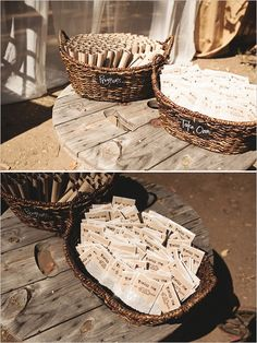 Save money by creating your own wedding programs and displaying them in a basket.