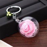 1pcs Rose Flower Keychain Imitation Flower Keychains Bell Key Chain Keyring Silk Charm Crystal Ball Keychain Rongqiang Wish Keychain Cute Keychain Keyrings