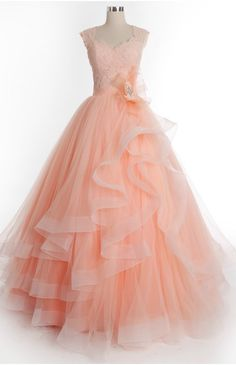 Prom Dresses Charming Long Tiered Tulle Appliques Party Dresses With Lace & Flowers