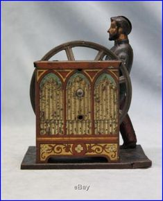 Image detail for -RARE Antique Tin *Steam Engine* Herdy Gurdy Music Box Mechanical Toy