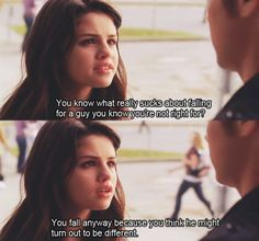 """You know what really stinks about falling for a guy you know you're not right for? You fall anyway because you think he might turn out to be different. Another cinderella story Another Cinderella Story, Cinderella Story Quotes, Cinderella Movie, Romantic Movie Quotes, Favorite Movie Quotes, Tv Show Quotes, Film Quotes, Sad Movie Quotes, Funny Quotes"