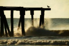 TITLE: Waves Crashing on Pier at Sunrise (Atlantic City, New Jersey Shore) SIZES: This photograph is available in the following sizes (prices are in US dollars): 4X6 $10 6X9 $25 8X12 $35 16X24 $90 20X30 $120 PLACING AN ORDER: To order a print in a particular size, you can do any of the following: a) convo me b) click the request custom item in the Shop Info section c) use the select a size feature on the right. PAPER & PRINTING: Photographs are professionally printed on long-lasting (a...