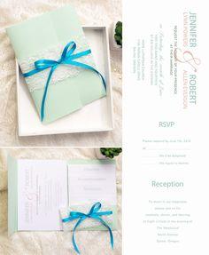 mint green pocket wedding invitation kits for spring and summer 2015