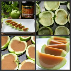 Caramel Apple Jello Shots  recipe here ==> http://lovecookeat.com/caramel-apple-jello-shots/