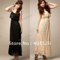 2012 SEXY! HOT! Womens Ladies Sleeveless Summer Lace Lotus Leaf Prints Strap Full Length Long Dress free shipping 5054