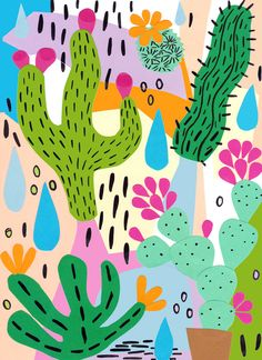 Cactus illustration by Dora Szentmihalyi Kaktus Illustration, Pattern Illustration, Textures Patterns, Print Patterns, Images Murales, Deco Floral, Cactus Art, Arte Pop, Pattern Wallpaper