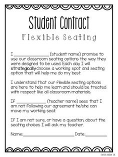 This flexible seating contract is a good way to outline the expectations of flexible seating in your classroom. While flexible seating is a must in every room, I also think it is a privilege and this contract highlights that idea. Classroom Behavior Management, Classroom Procedures, Classroom Organization, Classroom Ideas, Class Management, Classroom Design, Classroom Contract, Classroom Norms, Social Contract