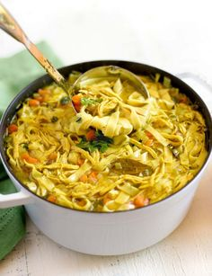 This healthy homemade CHICKEN NOODLE SOUP is a quick, comforting and delicious recipe. Cook up a pot of homemade goodness today! Quick Chicken Noodle Soup, Noodle Soups, Chicken Soup, Soup Recipes, Cooking Recipes, Potluck Recipes, Noodle Recipes, Vegetarian Cooking, Drink Recipes