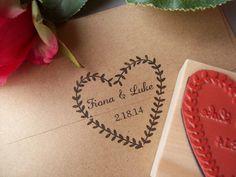 Couronne de Laurier personnalisé Stamp - noms et Date - bricolage mariage fait main sauf les faveurs d'Invitations de Dates