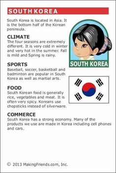 MakingFriends Facts about South Korea Printable Thinking Day fact card for our passports. Perfect if you chose South Korea for your Girl Scout Thinking Day or International Night celebration. Around The World Theme, Kids Around The World, Facts For Kids, Fun Facts, Culture Day, Culture Travel, World Thinking Day, General Knowledge Facts, World Geography