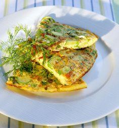 Zuchinni, Feta, and Spring Herb Omelette with Greek Yogurt | dianekochilas.com