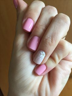 50 floral nail designs for this spring 2019 38 50 floral nail designs for this spring 2019 38 Shellac Nails, Nail Manicure, Acrylic Nails, Love Nails, Fun Nails, Pretty Nails, Pink Nail Colors, Accent Nails, Simple Nails