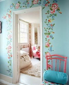 Cath Kidston from Lonny Mag~this wall decor would be perfect for a girl's room :)