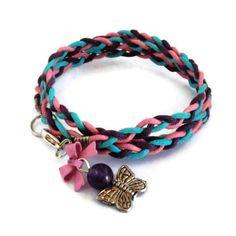 Wrap Bracelet Pink Purple Turquoise Butterfly Charm £4.00