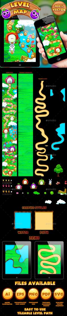Veggies Game UI Level Map (Game Kits)