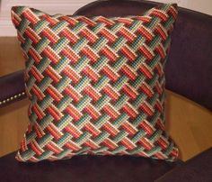 Bargello Needlepoint Pillow Hand Embroidered by Lisolabella