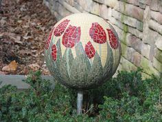 Red Tulips Mosaic Garden Orb    Year Round by BorgesMosaicStudio, $685.00