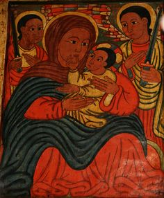Ethiopian Virgin & Christ 19th C Icon