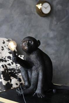 Sitting Monkey Table Lamp - Black