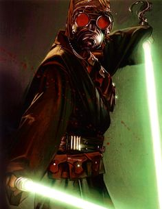 A'Sharad (Darth Krayt) wielding his father's lightsaber as well as his own.