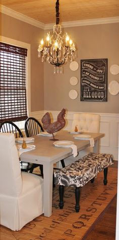 Sherwin williams Perfect Greige and pannelling idea for dining room at 2 Vintage Sisters: The Kitchen Makeover ~~~like the paneling for my breakfast room. Window and wall are the same as my room. Sherwin Williams Perfect Greige, Room Colors, Paint Colors, Estilo Country, Dining Room Inspiration, Home Kitchens, Home Projects, Kitchen Decor, Kitchen Ideas