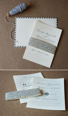 Vintage Airmail Wedding Invitations in subtle colours with handmade letterpressed envelopes.