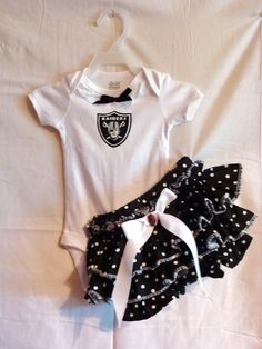 852a1d246 NFL Oakland Raiders baby girl infant onsie outfit w bloomers sizes NB to 4  Any team