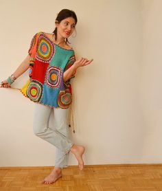 Women's Sweater Vest  Crochet Light Silky Yarn door subrosa123