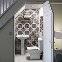 decoration: Bathroom Under Stairs Idea More Sink Over. Bathroom Under Stairs Bathroom Under Stairs, Bathroom Small, Bathroom Storage, Upstairs Bathrooms, Toilet Under Stairs, Bathroom Toilets, Small Bathroom Interior, Bathroom Bin, Toilet Storage