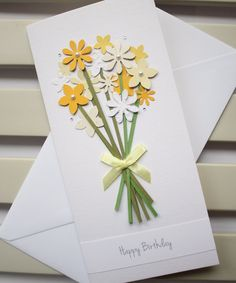 Handmade Birthday Card with a Bouquet of Yellow by PaperSoupCards