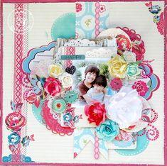 Prima layout by Maiko Kosugi using Rosarian Love Scrapbook, Scrapbook Rooms, Scrapbook Organization, Prima Marketing, Happy Smile, Knitting Designs, Scrapbooking Layouts, Arts And Crafts, Girly