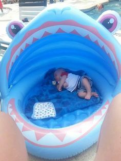 This infant pool from Walmart worked wonders for us on vacation. It floats in the pool as well and shades from sun!