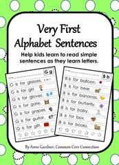Very First Alphabet Sentences - Enter to win a set of Very First Alphabet Sentences.  A GIVEAWAY promotion for Very First Alphabet Sentences from Common Core Connection on TeachersNotebook.com (ends on 8-15-2015)