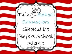 I definitely need to do these things! 20 Things School Counselors Should Do Before School Starts « The Helpful Counselor School Counselor Office, High School Counseling, Elementary School Counselor, School Social Work, Counseling Office, Psychologist Office, School Counsellor, School Psychology, School Starts
