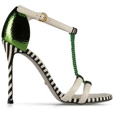 Sergio Rossi Pop Chain Sandal With Black And White Striped Sole, Green... (€555) ❤ liked on Polyvore featuring shoes, sandals, heels, zapatos, scarpe, green, high heeled footwear, green sandals, green high heel sandals and black and white heel sandals