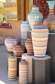 Santa Fe - Navajo Pottery Display - A shop near Loretto Chapel had these lovely pots on display.