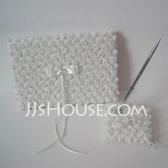 Guestbook - $29.99 - White Satin Rose Guest Book And Pen Set(101018168) http://jjshouse.com/White-Satin-Rose-Guest-Book-And-Pen-Set-101018168-g18168