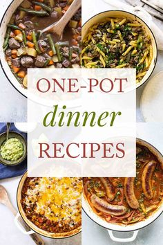 One-pot dinners! Because who wants to wash a bunch of pots and pans? I've rounded up a bunch of delicious one-pot meals – everything from easy weeknight dinners to guest-worthy dishes – that won't leave you with a pile dishes in the sink. Take a browse and I hope you find something new to try! | dinner ideas | healthy dinner recipes | one pot meals | easy meals | Beef Recipes For Dinner, Entree Recipes, Delicious Dinner Recipes, Top Recipes, Fall Recipes, Gourmet Recipes, Appetizer Recipes, Vegetarian Recipes, Amazing Recipes