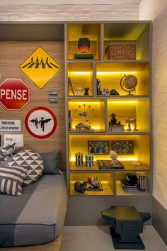 Fashionable Boy Bedroom Décor with Backlit Bookshelf - Cool Teenage Boys Room Decor Ideas: Best Teen Boy Room Designs and Decorating Ideas room room home decor lighting room decor room decor wall office decor ideas decoration design room