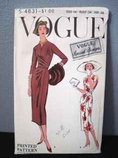 Vintage 1950s Vogue Sewing Pattern Special Design by serine23, $42.00