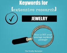 Jewelry Keywords Package How To Sell On Etsy by TheCraftyMarketer $5.00