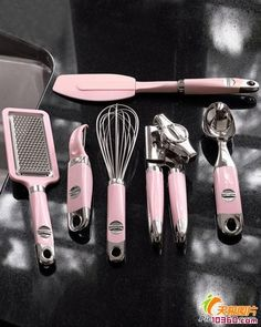 Pink kitchen accessories.