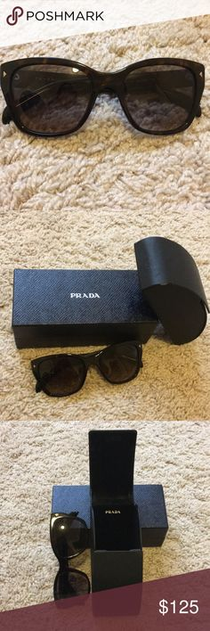 PRADA sunglasses women's SPR09S Beautiful Prada sunglasses in black with brown speckles. PRADA logo on the sides!  Note: sunglasses case has a small scratch (as seen in the picture) and two small scratches (picture)  comes with unopened clothes and original box/case. GIFT W/BUNDLE OF 3+!  Prada Accessories Sunglasses