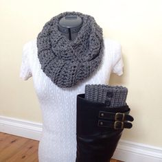 Boot cuff set with infinity scarf gray by GrindleHillFineGoods