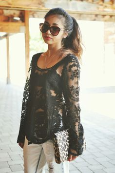 Casual Chic ( Lace Shirts & Blouses & Bleached Denim Jeans )