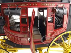 A stagecoach interior. (Wells Fargo Overland Stagecoach Diecast Model 1 16 by Franklin Mint Horse Wagon, Horse Drawn Wagon, Wooden Wagon, Old Wagons, Chuck Wagon, Franklin Mint, Le Far West, Diecast Models, Old West