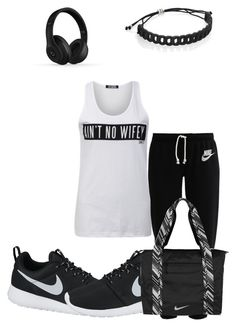 """тяуσυт fσя тяα¢к"" by dajabaee ❤ liked on Polyvore featuring Dimepiece, NIKE, Marc by Marc Jacobs and Beats by Dr. Dre"