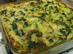 "Vegetarian Spinach, Cheese and "" Sausage"" Casserole"