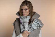Georgina Skalidi www.georginaskalidi.com Clutch Bags, Raincoat, Fabric, Jackets, Design, Fashion, Rain Jacket, Tejido, Down Jackets