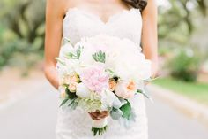 Glamorous heritage plantation wedding with romantic lace wedding dress by Maggie Sottero.